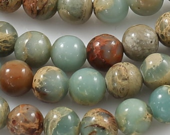 NATURAL AFRICAN OPAL Sea Sediment Jasper Beads smooth round sizes 4mm, 6mm, 8mm, 10mm, 12mm- In Full 15.5 inch Strand- Gemstone Beads