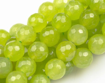 Tender Shoots Light Green- JADE Faceted Round - 6mm, 8mm, 10mm -Full Strand 15.5 inch Strand,