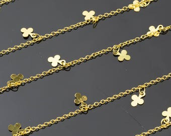Cute Dangly Four Leaf Clover Drops Gold Plated Brass Chain. High Quality 24 Karat Gold Plating. By THE YARD