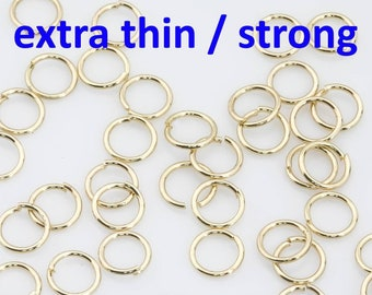 Gold Filled SUPER STRONG/ Extra THIN Gold Filled Jump Rings 3mm 4mm 5mm 6mm 7mm 8mm. Carbon Steel - Very sturdy despite thickness. 18K 14K