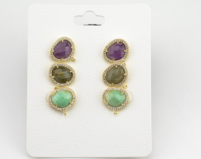 0b8c72a46 Cz Gemstone Bean Shapped- Earring stud-Gold- With Loop - 1 pair