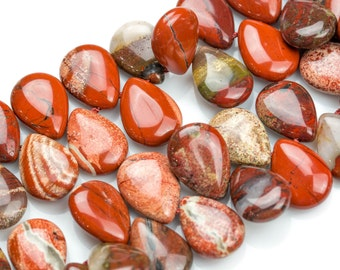 Red Jasper- Top Drilled Teardrop Beads-13x18mm- 29 Pieces- Special Shape