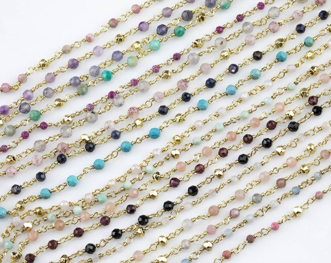 56ef15ce5f5 Gemstone Gold Pyrite Rosary Style Necklace- Minimalist- Light and dainty-  Select your length