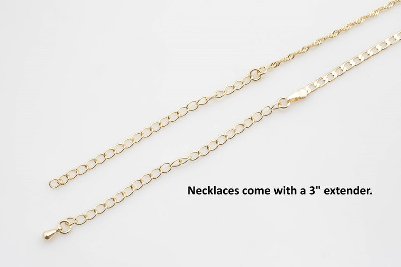 16 18 20 22 23 FC65 Curb Cuban Necklace Layering Necklace 3mm ready to wear Lobster Clasp 3 extender 18K Gold Filled Necklace