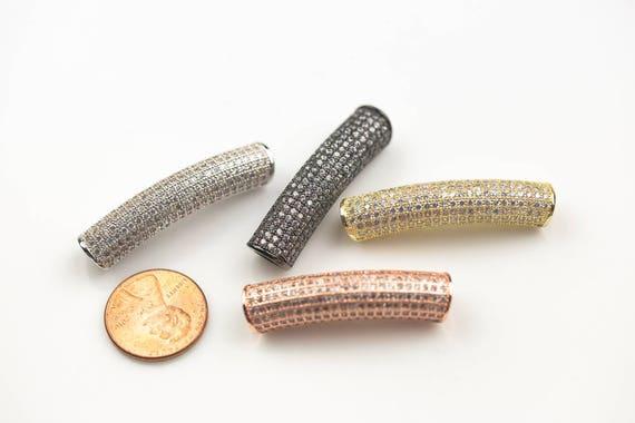 Cubic Zirconia Rhinestone Pave Tubes 6*36mm  cz Flat tube bar