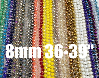 NEW COLORS!! Knotted crystal necklaces. Extra Long Hand-Knotted Crystal- Approximately 36-39 Inches Long- 8mm- Long Necklace