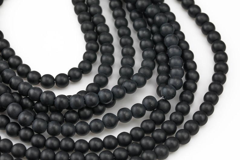 Natural Matte Black Onyx Beads Black Onyx Matte Beads 4mm 6mm 8mm 12mm 14mm Onyx High Quality in  Round Full Strand 15 inch Gemstone Beads