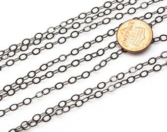3.5*4.9mm Sterling silver Oval Flat ROUND Texturized Chain- Silver and Oxidized