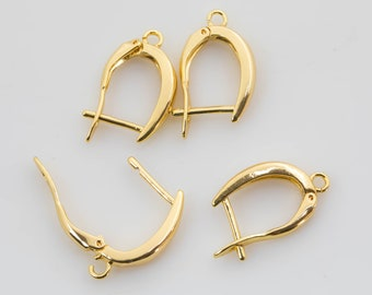 2 pairs 19x13mm Gold Huggie Earring one touch w/ open link 14K gold  Earring Nickel and Lead free, Lever back earring making Supply Huggies
