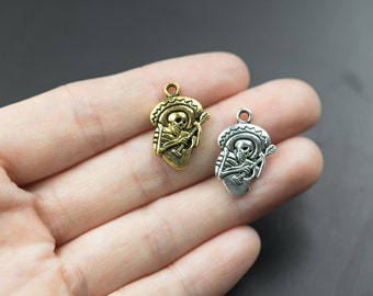 14 Day of the Dead Skeleton Pewter Charms 15x22mm- 1058-12298