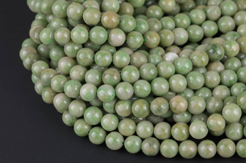 Natural Rare Pale  African Apple Green Jade Beads 4mm 6mm 8mm 10mm Round Beads 15.5 Strand Gemstone Beads