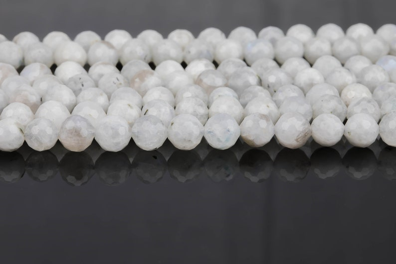 Natural Moonstone Beads Diamond Cut Facets 8mm and 10mm Rainbow Moonstone Gemstone Loose Beads 15.5-16 full strands AAA Quality