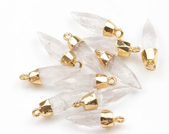 Quartz pendant Charm Quartz Spike with 24k gold electroplated cap