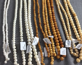 Natural Ox Bone Beads, semi round, 8mm,10mm,12mm plus 3 colors. Gemstone Beads