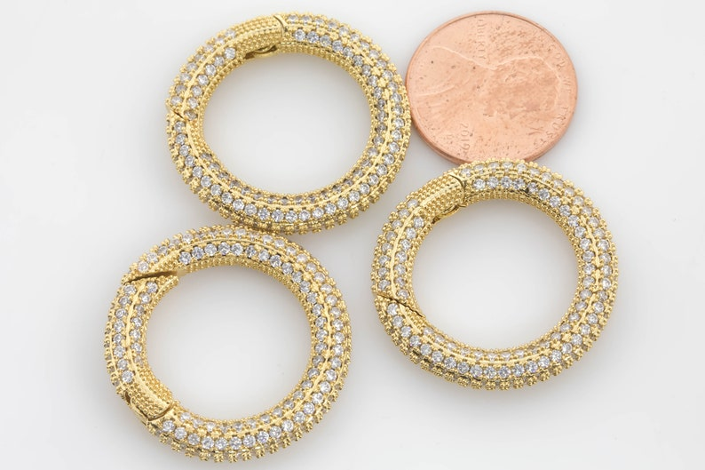 1 pc per order 27mm 1 pc 18k Gold Filled Push Round Clasp Diamond CZ Oval Cubic