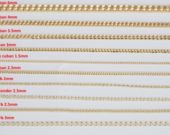 18K Gold Filled Cuban Curb Chain Assortment Oval Figaro Chain High Quality Cuban Curb Chain - 1 yard / 3 feet