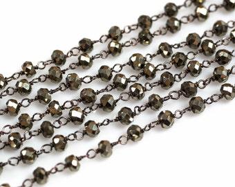 SHARP-CUT HiGH-QUALITY Pyrite Rosary Chain by the Foot. 3-4mm Gunmetal-Pyrite Oxidized Chain