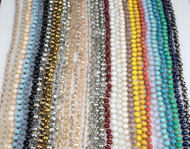 NEW COLORS Knotted crystal necklaces. Extra Long image 0