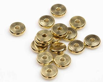 SOLID BRASS Flat Roundel Beads, 4mm, 6mm, 8mm, 10mm - 40 pcs