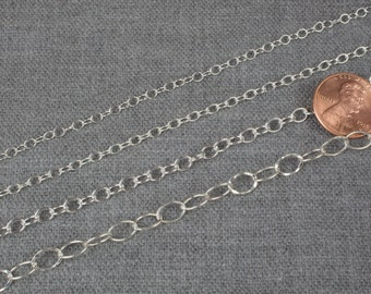 STERLING SILVER Chain. Beautiful quality round selection. 4 styles oval chain. Solid 925 sterling silver! - Silver and Oxidized - 1 YARD