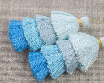 Ombre Puffy Tassels- 85mm - Quad Color- High Quality - 2 pcs Per Order- Perfect for Earrings