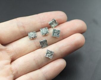 29 Celtic Cross Tie Square  Pewter Spacer Beads 7mm- 1034-867