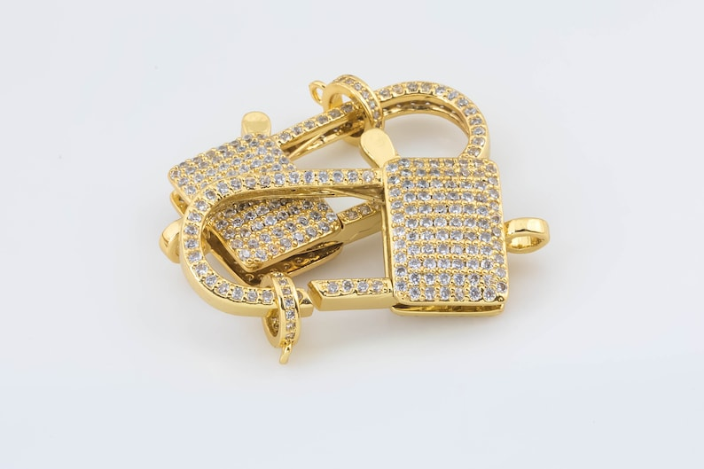 14K Gold Filled Large 20x38mm Rectangle Lobster Clasp for Necklace Bracelet Jewelry Making Supplies Chain Findings Micro Pave Clasp