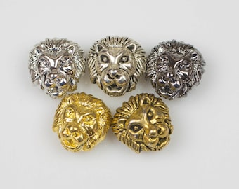 Wholesale! 10 or 50 pcs Lion Head 11*13mm Bead Pewter - Gold, Rose Gold, Silver, Gunmetal