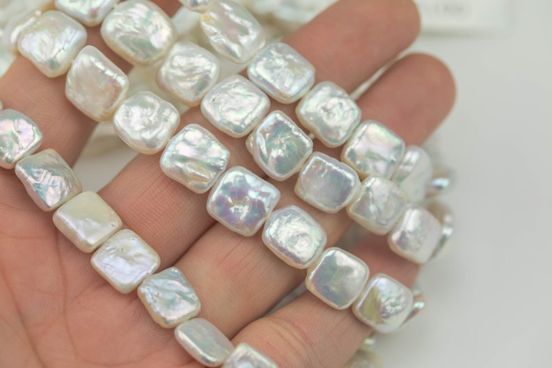 Full strands White Pearl! AA 10-11mm Square Pearl Freshwater Pearl