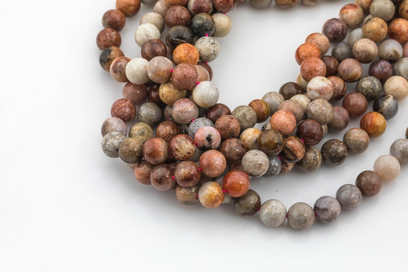 10mm  Smooth Gemstone Beads Natural Red fossil coral 6mm 8mm High Quality in  round
