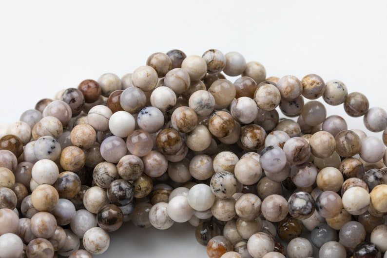 Natural Smokey Dentrite Agate  Round sizes 6mm and 8mm  Smooth Gemstone Beads