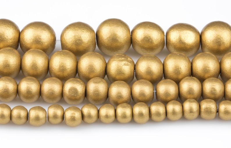 Gold Wood Beads: Off round Round Wooden 6mm 8mm 10mm 12mm 16mm image 0