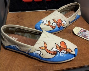 official photos a15c5 0a749 Toms Shoes Customized Koi Fish with Japanese Waves