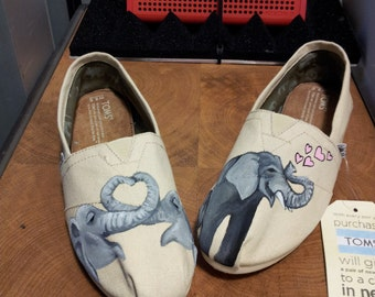 Toms Shoes Customized Elephants Love