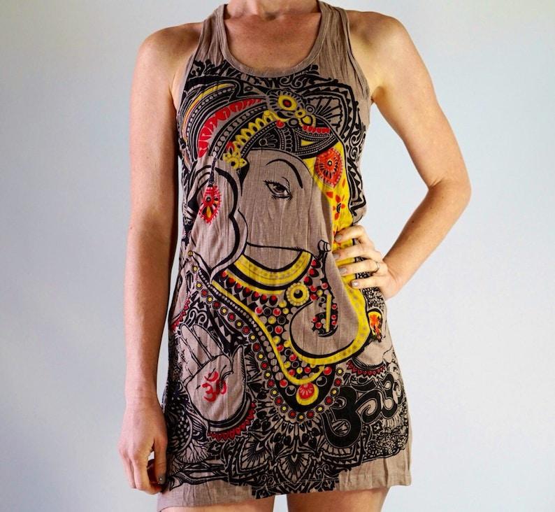 Tan Painted Ganesh Preshrunk Comfy Cotton Racer back Tank Dress Tribal Boho Gypsie Elephant Lokazu Casual Comfort Wear Yoga Texas Zen