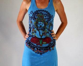 Women's Dress Blue Cosmic Om ganesh Preshrunk Comfy 100% Cotton Racer back Tank Dress Lokazu Casual Comfort Wear Gypsies Festival