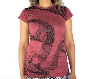 Women's Tee Paisley Buddha Maroon 100% Cotton Preshrunk Screen Print Graphic Design Lokazu
