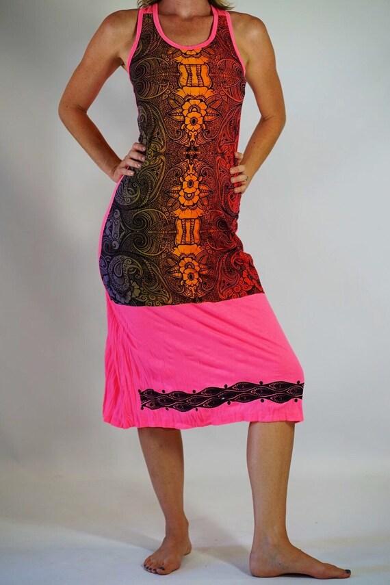 063fdaf797e Women s Hot Pink Long Maxi Dress Rainbow Floral Art Dress