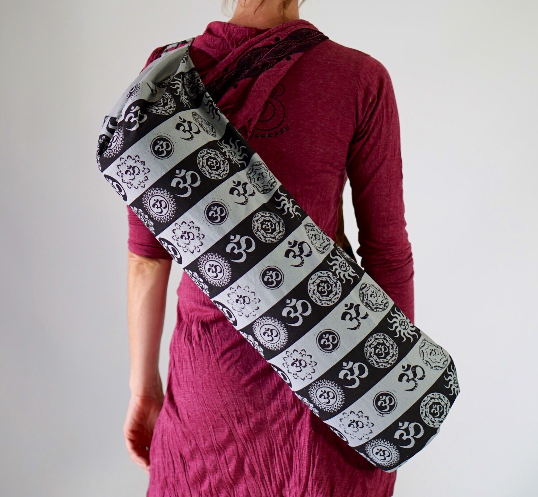 SALE Yoga Mat Bag Vibrant Colorful Gray OM Screen Print