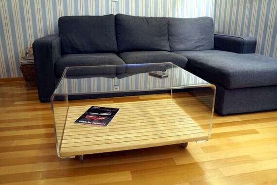 Couchtisch Aus Lucite Und Holz Sofa Tisch Acryl Couchtisch Etsy
