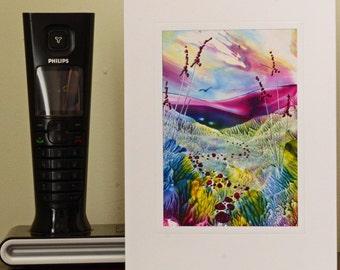 Encaustic Wax Original Art Card, Rainbow Valley, Portrait