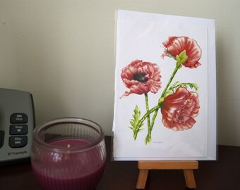 Watercolour print card, A6, 3 Poppies fine art