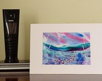 Encaustic Wax Original Art Card, Turquoise Downs, Landscape style
