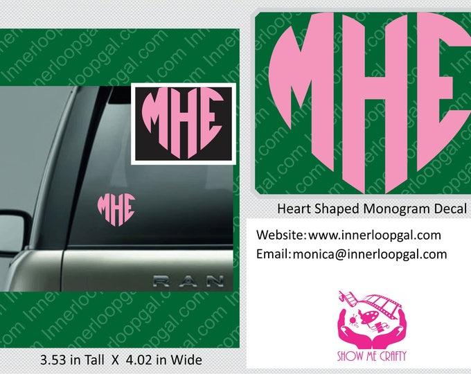 Heart Monogram Car Decal