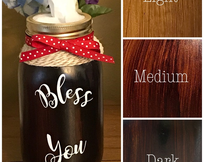 Woodgrain Effect Bless You Jar Tissue Holder /32 oz Mason Jar Tissue Holder/ Quart Size Mason Jar Tissue Holder/Light, Dark and Medium
