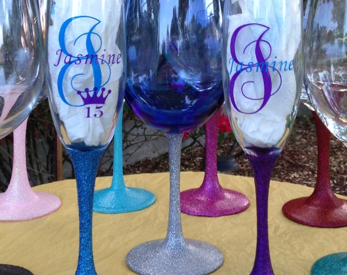 Personalized Glittered Stem Champagne Flute