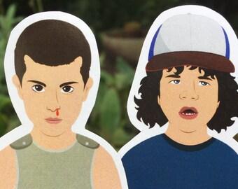 2x1 DUSTIN and ELEVEN Inspired Fridge Magnets, Paper Doll, Stranger Things
