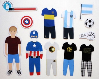 Custom Illustrated Fridge Magnets, Original Gift, Paper Doll, Toys and Games