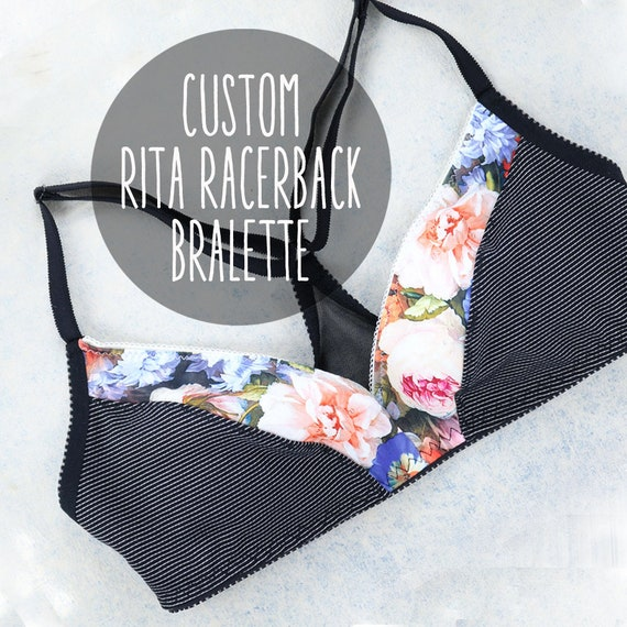 CUSTOM SIZE and colors - RITA bralette with racer back, size and color of your choice, handmade from upcycle materials