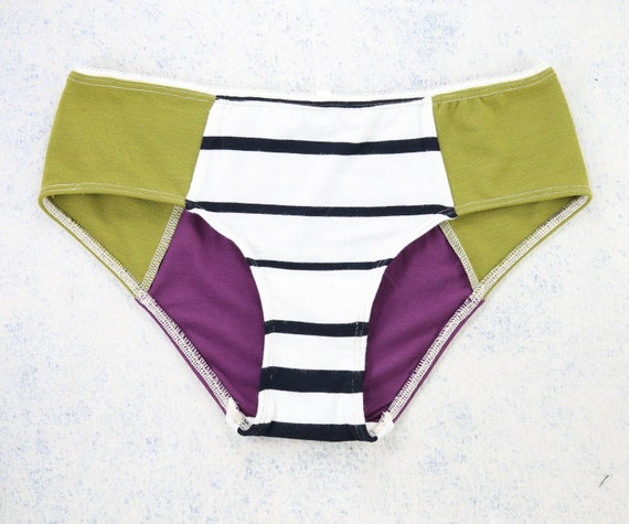 X-SMALL - LOLA WideHipster cut, unique, upcycle and handmade panties hand dyied